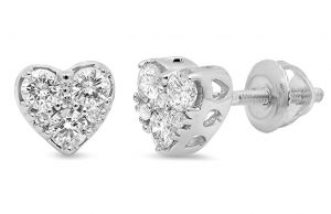 0.40 Carat (ctw) 10K White Gold Round Cut Diamond Ladies Heart Shape Stud Earrings