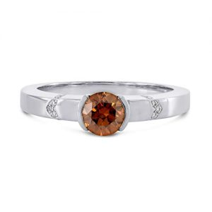 0.55Cts Orange Diamond Side Stone Ring Set in 18K White Gold GIA Certificate Size 5.50