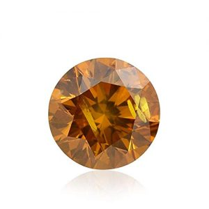 0.58Cts Fancy Deep Yellow Orange Loose Diamond Natural Color Round Cut GIA Cert