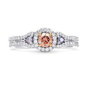 0.64Cts Pink Diamond Engagement 3 Stone Ring Argyle Set in Platinum GIA Cert Size 6
