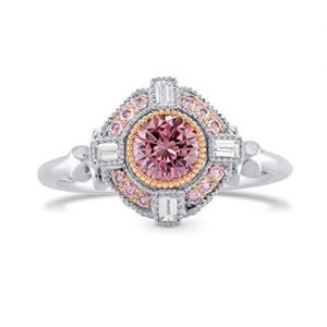 0.74Cts Pink Diamond Engagement Extraordinary Ring Set in 18K White Rose Gold Size 6.25