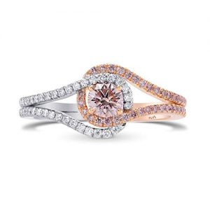0.7Cts Pink Diamond Engagement Halo Ring Argyle Set in 18K White Rose Gold GIA Size 6.75