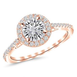 0.85 Carat Classic Halo Diamond Engagement Ring with a 0.45 Carat I-J I1 Center