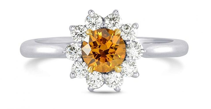 0.87Cts Orange Diamond Engagement Halo Ring Set in 18K White Yellow Gold GIA Size 6