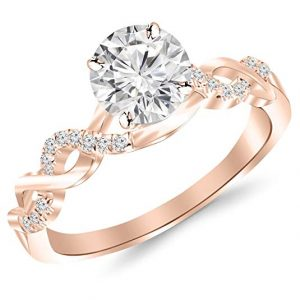 0.88 Carat Twisting Infinity Gold and Diamond Split Shank Pave Set Diamond Engagement Ring with a 0.75 Carat I-J I2 Center