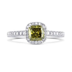 0.93Cts Chameleon Diamond Engagement Halo Ring Set in 18K White Yellow Gold GIA Size 6