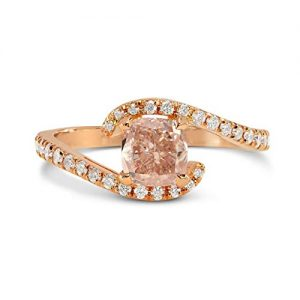0.9Cts Pink Diamond Engagement Side Stone Ring Set in 18K Rose Gold GIA Cert Size 4.75
