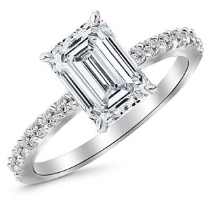 1 CTW Classic Side Stone Pave Set Diamond Engagement Ring
