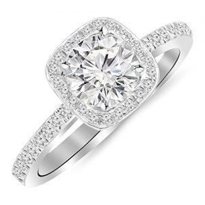 1 Carat 14K White Gold Classic Halo Style Cushion Shape Diamond Engagement Ring