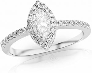 1 Carat 14K White Gold Halo Marquise Cut Diamond Engagement Ring