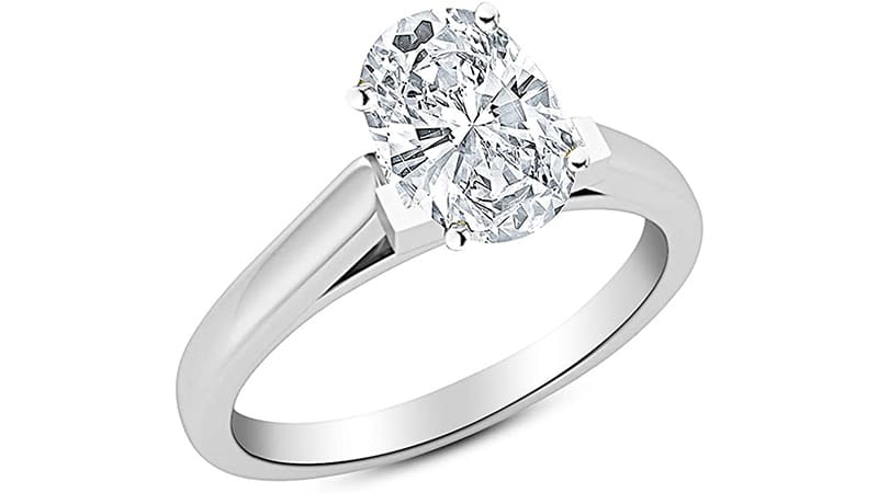1 Ct GIA Certified Oval Cut Cathedral Solitaire Diamond Engagement Ring