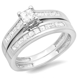 1.00 Carat (ctw) 14k White Gold Princess Diamond Ladies Bridal Ring Engagement Set Wedding Band 1 CT