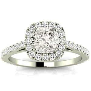 1.1 Carat GIA Certified Cushion-Cut 14K White Gold Gorgeous Classic Cushion Halo Style Diamond Engagement Ring (G-H Color VS1-VS2 Clarity)