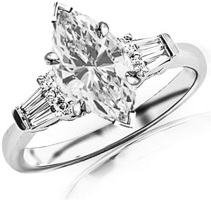 1.1 Carat t.w. GIA Certified Marquise Cut 14K White Gold Prong Set Round and Baguette Diamond Engagement Ring