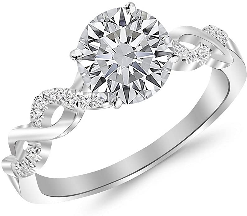 1.13 Carat 14K White Gold Twisting Infinity Gold and Diamond Split Shank Pave Set GIA Certified Round Cut Diamond Engagement Ring