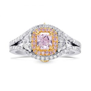 1.15Cts Pink Diamond Engagement 3 Stone Ring Set in Platinum GIA Certified Size 6