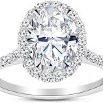 1.25 Ctw Oval Cut Halo 14K White Gold Diamond Engagement Ring