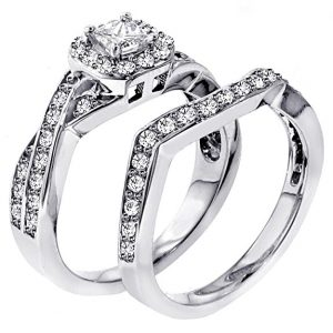 1.30 CT TW Braided Princess Cut Diamond Engagement Wedding Band Set in 18k White Gold