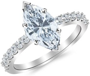 1.4 Ctw 14K White Gold Classic Side Stone Prong Set Marquise Cut Diamond Engagement Ring