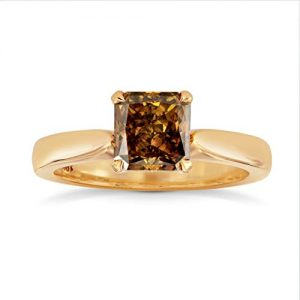 1.4Cts Orange Diamond Engagement Solitaire Ring Set in 18K Rose Gold GIA Cert Size 6