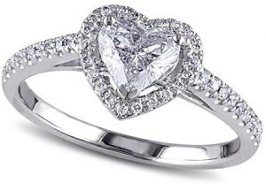 (1.50ct) 14k White Gold Heart Shaped Moissanite and Diamond Halo Engagement Ring wSide Stones