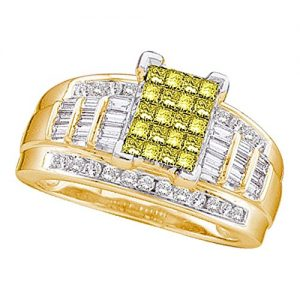 1.50ctw Canary Yellow Princess Baguette & Round Diamond Engagement Ring