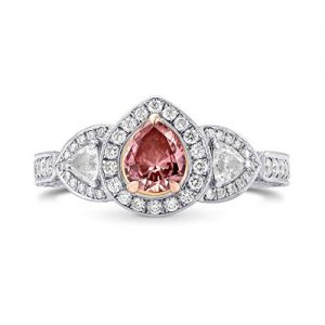 1.56Cts Pink Diamond Engagement Halo Ring Set in 18K White Rose Gold GIA Cert Size 6