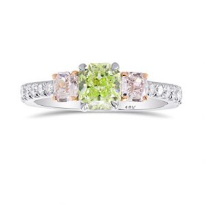 1.67Cts Green Diamond Engagement 3 Stone Ring Set in Platinum GIA Certified Size 6.25