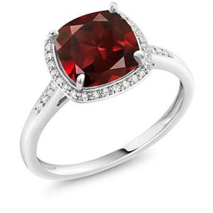10K White Gold Ring Red Garnet and Accent Diamond Women's Engagement Ring 2.74 Ctw Cushion Cut