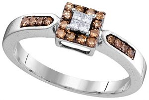 10k White Gold Round Chocolate Brown Diamond Square Cluster Ring (14 Cttw)