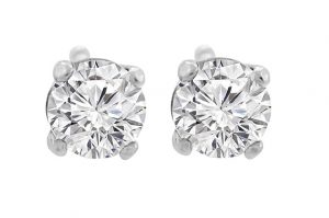14K Gold Diamond Stud Earrings Round Brilliant Earth-mined (G,VS1) Signature Rare Quality