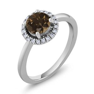 14K White Gold 0.90 Ct Round Brown Smoky Quartz Diamond Halo Engagement Ring