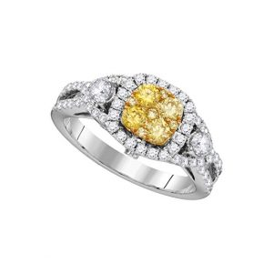 14K White Gold Canary Yellow Diamond Bridal Wedding Engagement Promise Ring 1-18 Ctw.