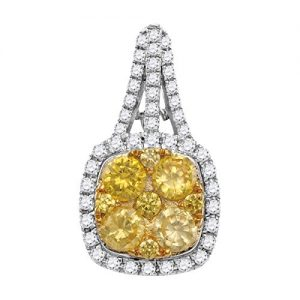 14K White Gold Canary Yellow Diamond Princess Necklace Pendant 2.00 Ctw.