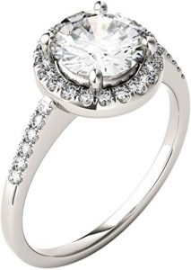 14K White Gold Moissanite by Charles & Colvard 7.5mm Round Halo Engagement Ring, 1.82cttw DEW