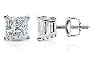 14k Gold 4-Prong Basket Princess-cut Diamond Men's Stud Earrings