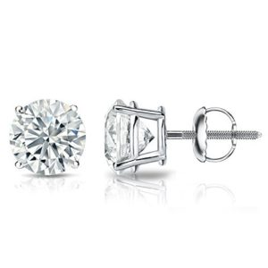 14k Gold Round Diamond Stud Earrings 4-Prong Basket-Screw Backs (14-2 cttw, G-H Color, SI1-SI2 Clarity)