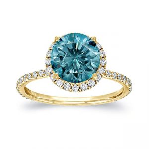 14k Gold Round-cut Blue Diamond Halo Engagement Ring