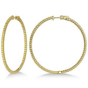 14k Gold X-Large Yellow Canary Diamond Hoop Earrings
