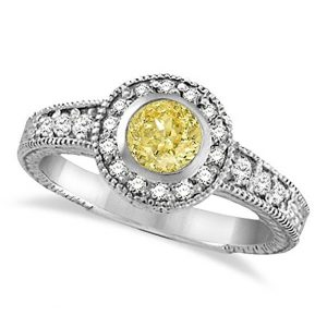 14k Gold Yellow Canary and White Diamond Antique Style Ring 14K W Gold
