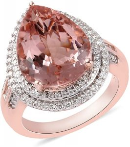 18K Rose Gold Pear AAA Morganite White Diamond Halo Ring Wedding Anniversary Engagement Bridal Jewelry for Women