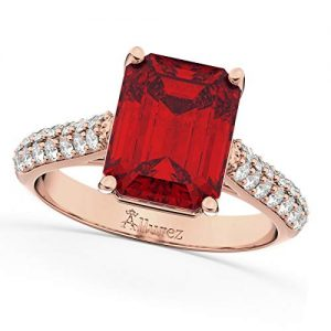 18k Gold (5.542ct) Emerald Cut Ruby and Diamond Engagement Ring
