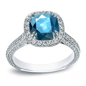 18k Gold Cushion-cut Blue Diamond Halo Engagement Ring