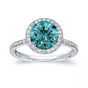 18k White Gold Round-cut Blue Diamond Halo Engagement Ring (2 25 cttw, Blue, H-I, SI1-SI2) Size 5.5-7.5