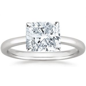 2 Carat GIA Certified 18K White Gold Solitaire Cushion Cut Diamond Engagement Ring