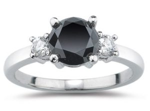 2.00 Cts White & Black Diamond Three Stone Ring in Platinum