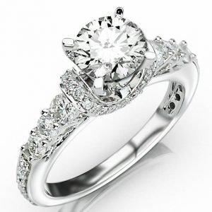 2.33 Carat Round Cut Designer Four Prong Round Diamond Engagement Ring