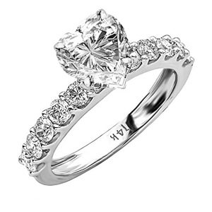 2.5 Ctw 14K White Gold Classic Prong Set IGI Certified Heart Shape Diamond Engagement Ring (1.5 Ct Center G-H Color SI1-SI2 Clarity)