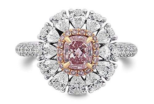 2.63Cts Pink Diamond Engagement Ring Set in 18K Size 6
