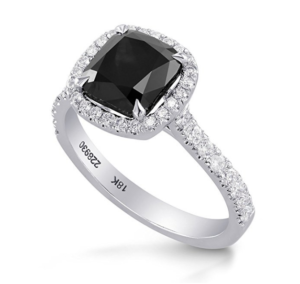 2.87Cts Black Diamond Engagement Halo Ring Set in 18K White Gold GIA Certified Size 6